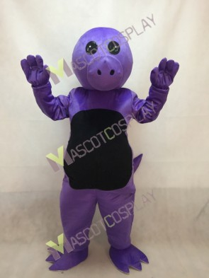 Purple Dinosaur Mascot Costume with Green Belly