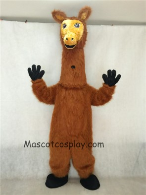 Dark Brown Hairy Llama Mascot Costume