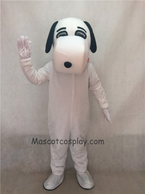 White Snoopy Dog Mascot Adult Costume with Black Ears