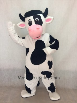 White Cow with Black Spot Mascot Costume