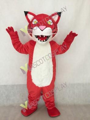 Custom Color Red Fierce Wildcat Mascot Costume