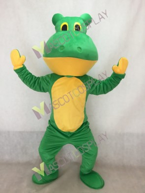 Green Deluxe Frog Mascot Costume with Yellow Belly