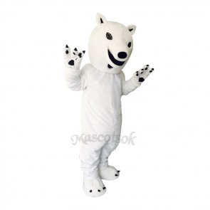 White Polar Bear Plush Adult Mascot Costume