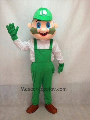 Cartoon Green Luigi Mario Plush Mascot Costume