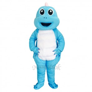 Lovely Blue Dragon White Belly Mascot Costume Cute Dinosaur Mascot
