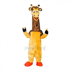 New Friendly Male Giraffe in Yellow Overall Mascot Costume