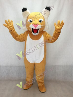 Tan Wildcat Mascot Costume with White Belly