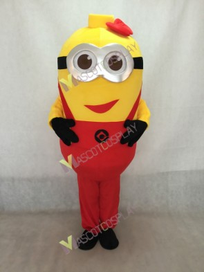 Despicable Me Minions Mascot Costume With Red Suspenders & Bowkno