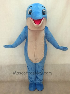 New Blue Happy Dolphin Mascot Costume