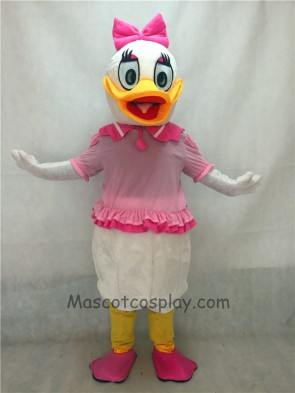Pink Bow Purple Daisy Duck Mascot Costume