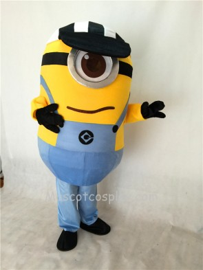 Cute One Eye Despicable Me Minions with Hat Mascot Costume
