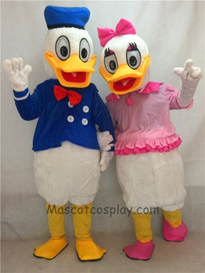Pink and Blue Donald Duck Couple Mascot Adult Costume