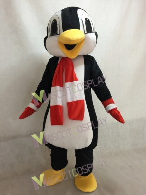 Custom Color Red and White Scarf Penguin Mascot Costume