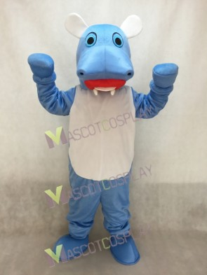 Blue Hillary Hippo with White Belly Mascot Costume