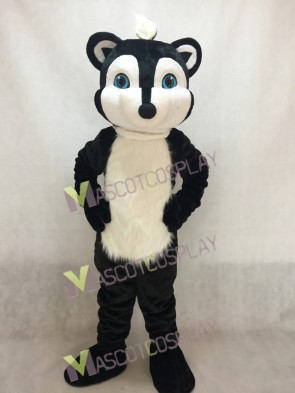 Black Skunky Skunk Mascot Costume with Blue Eyes
