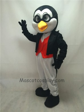 Cute Doctor Penguin in Black Tuxedo Adult Mascot Costume