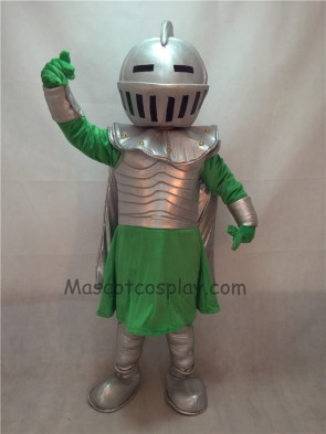 Silver Knight Mascot Costume with Green Clothing