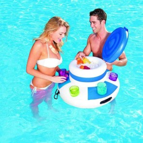 Inflatable Ice Bucket Pool Floats Ice Cubes Drink Cooler Holder Adults