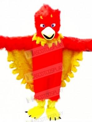 Red Phoenix with Long Fur Mascot Costumes Cartoon