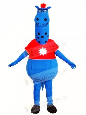 Blue Monster in Red Shirt Mascot Costumes Fantasy