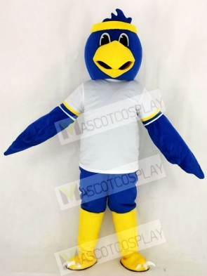 Cute Blue Falcon with White T-shirt Mascot Costume College