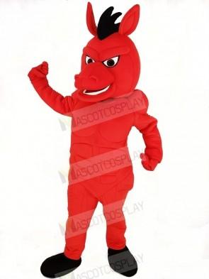 Fierce Red Mustang Horse Mascot Costume