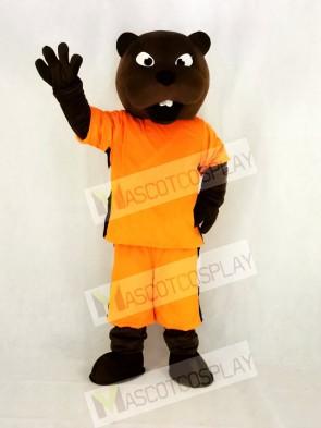 Realistic Sport Power Beaver in Orange Mascot Costume College