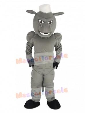 Power Gray Horse with White Hair Mascot Costume