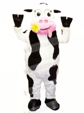 White and Black Cow with Pink Mouth Mascot Costumes Cartoon