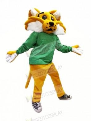 Brown Wildcat with Green Coat Mascot Costume Animal
