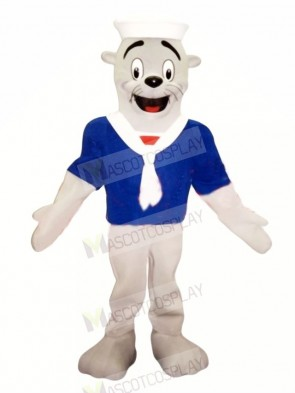 Seal with Blue T-shirt Mascot Costume Cartoon