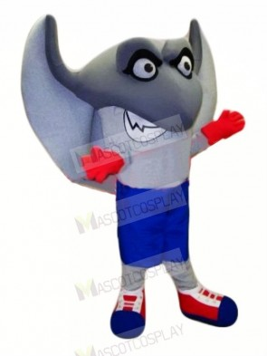 Cute Grey Stingray Mascot Costume Cartoon