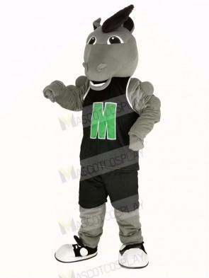 Grey Mustang Horse in Black Sportswear Mascot Costume