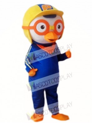 Pororo the Little Penguin Mascot Costume with Orange Goggles