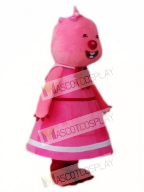 Loopy Pink Beaver from Pororo the Little Penguin Mascot Costume