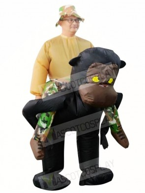 Gorilla Monkey Carry me Ride on Orangutan Gibbon Chimp Inflatable Halloween Xmas Costumes for Adults