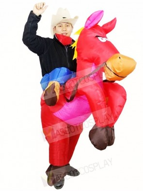 Cowboy Ride On Red Horse Inflatable Halloween Christmas Costumes for Adults