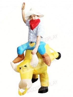 Cowboy Ride on Yellow Bull Inflatable Halloween Xmas Costumes for Adults