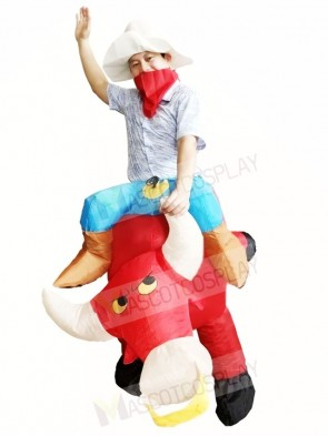 Cowboy Ride on Red Bull Inflatable Halloween Xmas Costumes for Adult