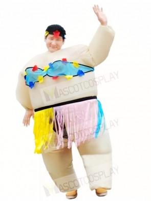 Hawaiian Dance Hula Skirt Inflatable Halloween Christmas Costumes for Adults