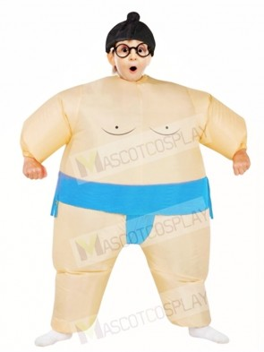 Blue Japanese Fat Man Sumo Inflatable Halloween Christmas Costumes for Kids