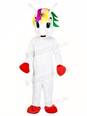 White Unicorn with Colorful Horn Mascot Costumes Myth