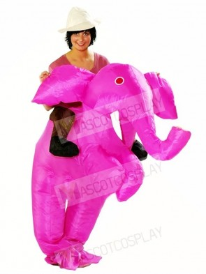 Carry me Ride On Pink Elephant Inflatable Halloween Christmas Costumes for Adults