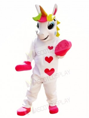 White Unicorn with Hearts and Colorful Horn Mascot Costumes