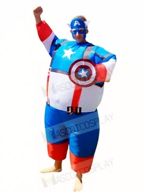 Fat Super Hero Captain America Inflatable Halloween Christmas Costumes for Adults