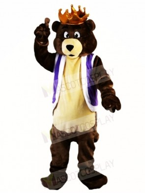 Dark Brown King Bear with Crown Mascot Costumes Animal
