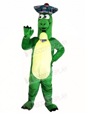 Green Dinosaur with Hat Mascot Costumes Animal