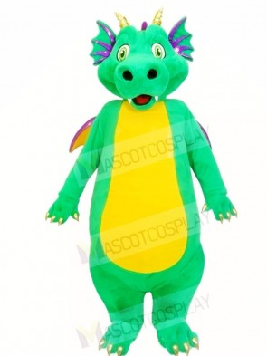 Green Dragon with Yellow Belly Mascot Costumes