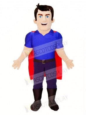 Cartoon Blue Shirt Super Hero Mascot Costumes People