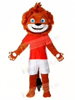 Happy Lion in Red Shirt Mascot Costumes Animal